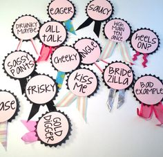 Bachelorette Party Pins Name Tags Bachelorette by LetsWearDresses, $10.00 @Tracie Bauguess how funny!!