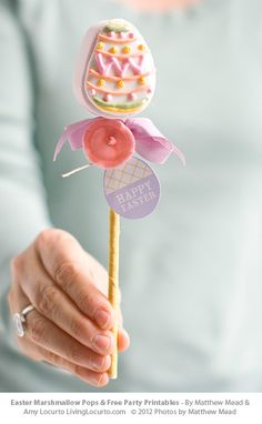Easter Marshmallow Pops & Free Printable Tags.