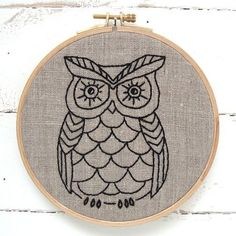Owl Embroidery Kit #beginner #canada #embroidery #embroidery-kit #iheartstitchart #indie-designer #intermediate #owl