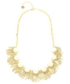 Pearl Bar Fringe Necklace