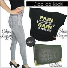 Que tal este look em seu guarda roupa? E o melhor em 12X no cartão! Veja mais   #calças #legging #jeans #blusas #cropped #carteiras #femininas #moda #acessorios #bolsas #regatas #camisetas #loja #virtual