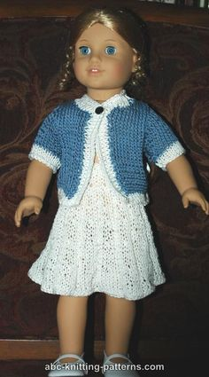 ABC Knitting Patterns - American Girl Doll Elegant Suit (Cardigan and Skirt)