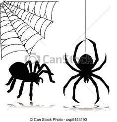 Vector. Siluetas de dos arañas en sus telarañas. Halloween.