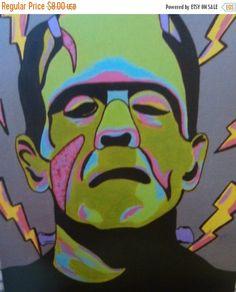 CIJSALE Pop Art Frankenstein - 8x10 Inch Print - Horror Movie Monster - Classic Horror Fanart - Horror Art Print - Frankenstein Print - Wall