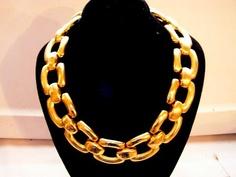 Chunky Vintage Goldtone Necklace and Bracelet by frenchhen1, $22.00