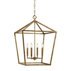 Large Geometric Open Cage Lantern in Vintage Gold by Millennium Lighting 3254VG