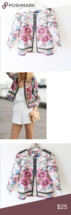 """Floral Screen Printed Jacket Jacket has such a fun bright print and is extremely light weight with no lining. Length 22"""" Arm from Shoulder 20"""" OASAP Jackets & Coats"""