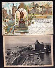 98447 2 AK Litho Crefeld Krefeld Rathaus 1897 Crefelder Hafen bei Uerdingen a. R
