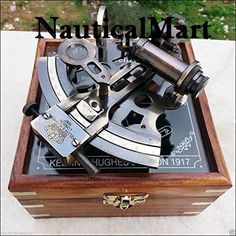 Other Maritime Antiques Antiques Antique Nautical Working German Marine Sextant W/ Wooden Box Brass Sextant Gift Large Assortment