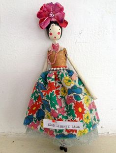 Fairy Miss Liberty Lace Fabric Toys, Fabric Art, Clothespin Dolls, Sewing Dolls, Kids Jewelry, Wooden Dolls, Fairy Dolls, Soft Sculpture, Vintage Fabrics