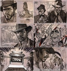 Indiana Jones J. Scott Campbell sketch cards