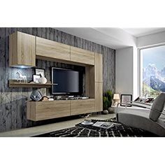 FUTURE 6 Modern Living Room Furniture Set, Exclusive Entertainment Unit, TV-Stand, Brand New Suite, Many Colours (RGB LED Lighting Available) (Sonoma oak MAT base / Sonoma oak MAT front, White LED)