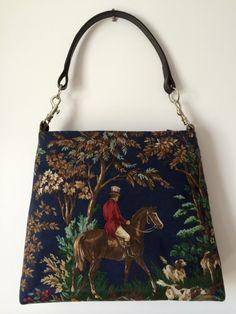 Navy Equestrian Handbag Ralph Lauren fabric by TheGreenEquestrian
