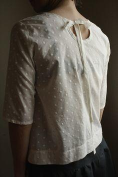 SALE pintuck blouse  ivory polkadot xs by modaspia on Etsy