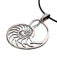 Nautilus jewelry pendant silver - A Symbol of Natures Beauty. The key to the physics of the universe Plato  The pendant is based on the structure of theNautilus shell.  TheNautilus shellis one of the known shapes that represent thegolden meannumber.  The golden mean number is also known as PHI - 1. 6180339. . .  The PHI is a number without an arithmetic solution, the digit simply continues for an eternity without repeating itself.