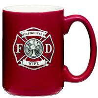 Firefighter Red Pewter Accent Red Coffee Mug