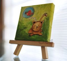 ORIGINAL Oil Painting on Mini Canvas 3 x 3 inches  by ArtbyAFox, $45.00