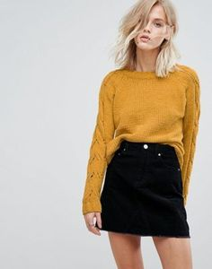 Only Cable Knit Sleeve Sweater