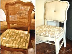 Before and after refurbishing DIY furniture - Repurpose Ideas Dining Chair Makeover, Chair Redo, Diy Chair, Furniture Makeover, Diy Furniture, Modern Furniture, Furniture Design, Chair Bench, Wicker Dining Chairs