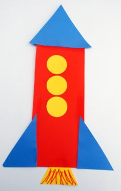 Shape rocket craft, primary colors and shapes. Space Preschool, Preschool Projects, Daycare Crafts, Toddler Crafts, Toddler Activities, Preschool Activities, Crafts For Kids, Shape Activities, Preschool Shape Crafts