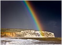 Rainbow over Culver Cliff, Isle of Wight, UK.  Looks like the place where Will returns to Elizabeth!!