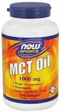 Now Foods MCT Oil 1000 mg 150 Softgels, Medium Chain Triglycerides (MCT's) are fats that are naturally found in coconut and palm kernel oil. MCT's are more easily and rapidly digested than other types