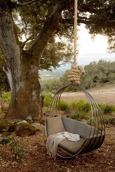 How sweet it is!  Ken Linsteadt Architects - hanging rope lounge seat