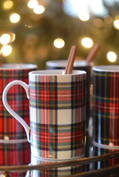 Beautiful tartan mugs filled with homemade hot chocolate.