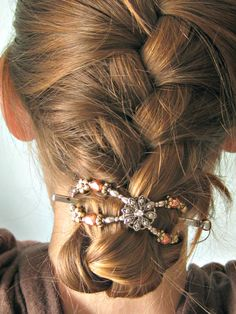 tucked under french braid with Lilla Rose flexi clip