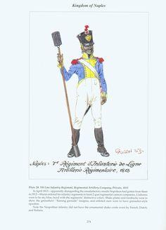Kingdom of Naples: Plate 20. 7th Line Infantry Regiment, Regimental Artillery Company, Private, 1813.