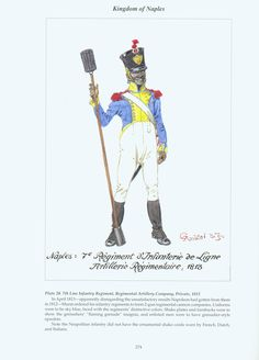 Kingdom of Naples: Plate 20. 7th Line Infantry Regiment, Regimental Artillery Company, Private, 1813.
