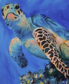 """""""Blue Flipper"""" by Ashley Roe #seaturtle #turtle oil #painting on canvas"""