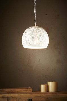 Coral - Hand Cut Patterned Dome Pendant Light - White