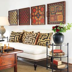 Folk art game boards & kuba cloth pillows