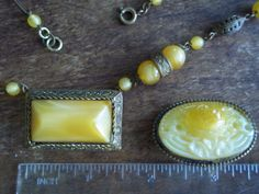 art deco VTG ANTIQUE RARE amber CUSTARD GLASS NEIGER MAX? old DEMI PARURE SET