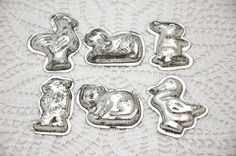 Vintage French chocolate molds, animal shapes, individual molds, chocolate animals, set of 6, metal chocolate mold, kitchen decor