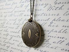 Victorian Style Antique Bronze Botanical Solid Perfume Locket. Vegan. Aromatherapy.
