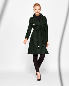 Cashmere-blend wrap front coat - Dark Green   Jackets And Coats   Ted Baker