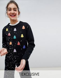 9b9adeef923 Monki xmas sweater with rainbow xmas trees in black. Pull De Noël ...