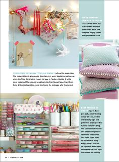 Torie Jayne's Craft Room As featured in Prima Makes Diy Craft Projects, Fun Crafts, Craft Ideas, Diy Ideas, Craft Room Storage, Craft Rooms, Art Studio Design, Sewing Spaces, Shabby Chic Crafts