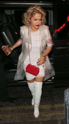 Hot! or Hmm… Rita Ora's The Box Nightclub Clear Trench and Chanel Fall 2013 White Leather Thigh High Chain Link Boots