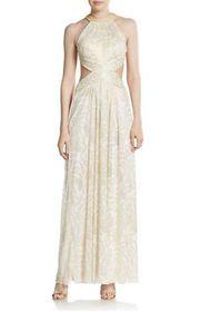 Joanna Chen New Foil-Print Beaded Cutout Halter Gown Dress Size 12
