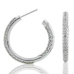 #Malakan #Jewelry - Platinum-Silver Diamond Hoop Earrings 75046H #Earrings #Hoops #Fashion