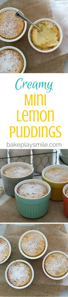 Creamy Mini Lemon Puddings - Conventional Method