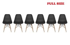 Inspirer Studio® Set of 6 New 17 inch SeatDepth Eames Style Side Chair with Natural Wood Legs Eiffel Dining Room Chair Lounge Chair Eiffel Legged Base Molded Plastic Seat Shell Top Side Chairs (Black)