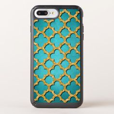 Trendy Teal Faux Shiny Gold Glitter Mosaic Pattern Speck iPhone Case - gold glitter style stylish unique