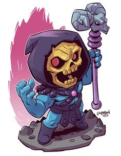 Chibi Skeletor by Derek Laufman Comic Book Characters, Comic Character, Comic Books Art, Comic Art, Heros Comics, Marvel Comics, Character Drawing, Character Design, Chibi Marvel