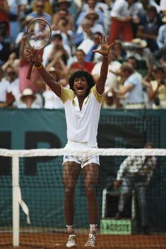 Yannick Noah winning the Roland Garros title, June 1983