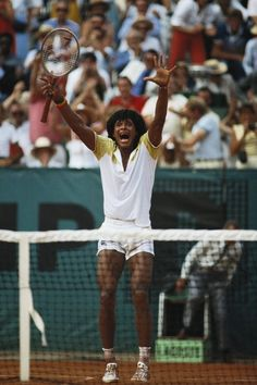 Yannick Noah winning the Roland Garros title, June 1983
