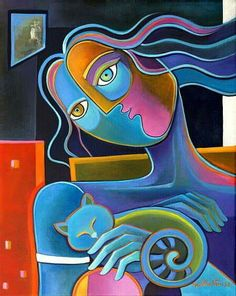 Cubism Abstract Original Oil painting on canvas Marlina Vera Fine Art Gallery artwork sale CAT LOVER Pop Art Picasso Style Cubist Art, Abstract Art, Art Picasso, Pop Art, Fine Art Gallery, Oil Painting On Canvas, Figurative Art, Les Oeuvres, Street Art